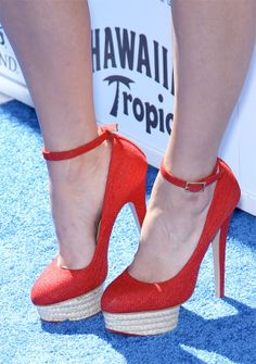 charlotte olympia dolores in red canvas with rope platforms on the feel of kim kardashian. #shoeporn