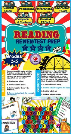 Reading Comprehension Review Test Prep Game. This fun and exciting game will help your students practice their reading skills and prep for their state reading tests. Children love to play games, I've had many students play this game and they absolutely adore it. It is so engaging that they keep asking me for more!