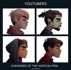 Mark And Ethan, Jack And Mark, Pewdiepie, Darkiplier And Antisepticeye, Gorillaz Art, Youtube Gamer, Septiplier, Ship Art, Memento Mori