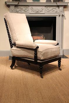 19th Cent English Ebonised Bobbin Armchair
