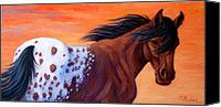 Cimarron Sunset Appaloosa Painting by Theresa Paden - Cimarron Sunset Appaloosa Fine Art Prints and Posters for Sale