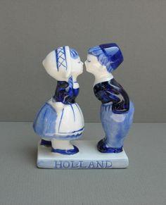 Vintage Delft Figurine Dutch Boy and Girl Kissing