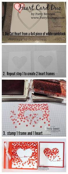 How to make the Dotty Angles Stampin' Up! heart cards by Patty Bennett #stampinup