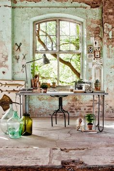 Botanic planten industrieel interieur | Green vintage industrial interior #romantic