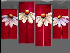easy art wall canvas | RED FLORAL CANVAS DAISIES PAINTING WALL ART SPLIT PICTURES 4 PANEL 40 ...