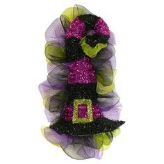 "Perfect for greeting guests, this festive accent features a tinsel witchs hat with purple and black stripes and coordinating tulle.  Product: Hat accentConstruction Material: Tulle and plasticColor: Black, purple and greenDimensions: 28"" H x 14"" W x 7"" DNote: Guaranteed delivery by HalloweenCleaning and Care: Wipe gently with a dry cloth. Avoid direct sunlight and humidity."
