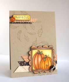 Alice Wetz - Pumpkin FrameThankful Card. Purple onion designs