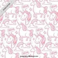 Patrón de unicornio dibujado a mano rosa