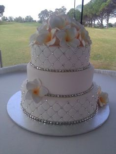 Wedding Cake Ideas. I would like this with pearls and without flowers