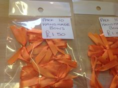 Handmade fairtrade Indian ribbon bows pack of ten for only £1.50 plus postage