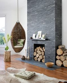 Uncalibrated Slate Linear Split Face Mosaic - fireplace for dining room.