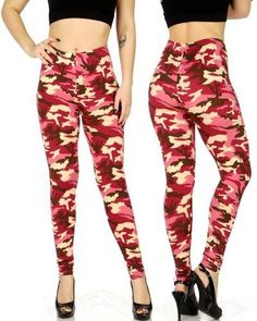 NEW OS Pink Camouflage Print Leggings
