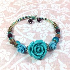 Memory Wire Bracelet Turquoise Rose Memory Wire by JewelryCharmers, $18.00