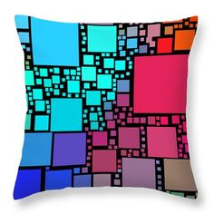 Everywhere Square 18 Throw Pillow by Chris Butler.  #pillow #throwpillow #homedecor #decor #tile #tiled #squares #square #design #interiordesign #abstract #cushion #colorful