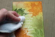 photo tutorial from Splitcoaststampers: Embossing Resist Technique by Beate Johns ...beautiful Fall colors .... excellent pictures to illustrate the steps ....