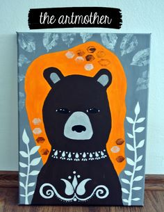 The folk bear  - a nice painting to decorate children´s room