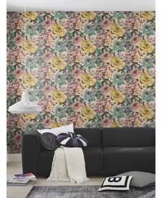The Plum, Green and Black Florentine Floral Wallpaper by Rasch is a classic floral rose themed wallpaper with a stunning fabric effect. Free UK delivery available