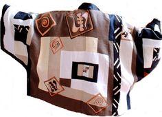 Reversible Handpainted  Linen Collage Jacket $225