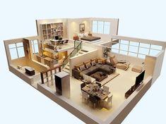 Plano de casa moderna de 3 dormitorios en 3d for Casa minimalista 60m2