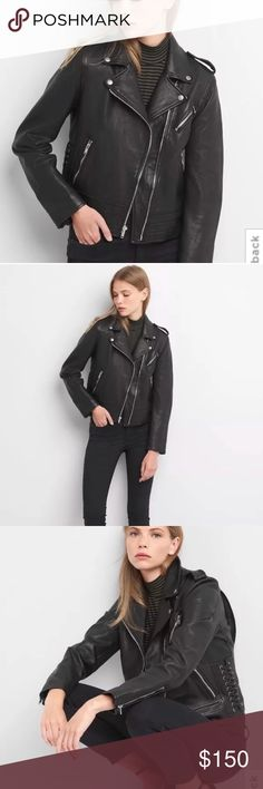NWOT GAP leather moto biker jacket M black soft! If you have been looking for *the* leather jacket, look no further. This is a feminine take on the classic, done in buttery soft leather. This coat is brand new without tags. It retailed for $495 from Gap this past winter. Size M (TTS and see measurements to confirm). It is an all-seasons jacket, providing wind protection without bulk. It is from a clean, nonsmoking home and smells like new leather. I'm interested in your reasonable offers…