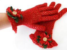Crochet Handmade Vintage Red Christmas Gloves by QueensAccessories, $25.00