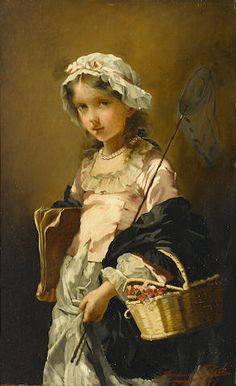 Jeanne Bôle (Comtesse de Toulza) (French, fl. 1870-1883) A young girl with a butterfly net 21 x 13 1/4in (53.4 x 33.8cm)