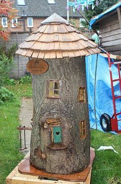 HandMade fairy houses made to order out of whole trees. $500 and up. + shipping from UK #fairygardening