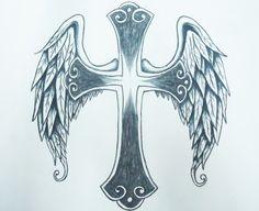 Cross Tattoo with angel wings Designs Small Wing Tattoos, Back Tattoos, Cute Tattoos, Beautiful Tattoos, Body Art Tattoos, New Tattoos, Cancer Tattoos, Tatoos, Cross With Wings Tattoo