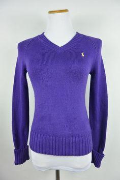 Ralph Lauren S Small Purple Cotton V-Neck Knit Yellow Pony Logo Sweater #796 #RalphLauren #VNeck