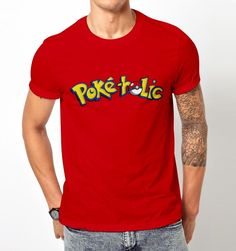 New Popular Funny Poke Holic Pokemon Go Pokeholic Pikachu T-Shirt Tee Men #Gildan #GraphicTee #Everyday