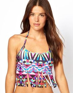 Enlarge ASOS Geo-Tribal Printed Fringed Halter Crop Bikini Top
