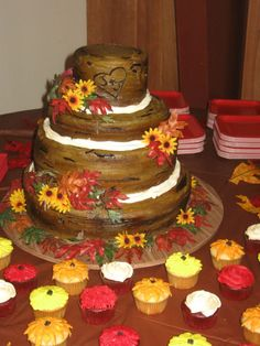 Rustic Wood Wedding cake, made out of buttercream.