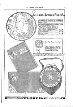 La Mode du jour | 1925-12-03 | Gallica Vintage Diy, Vintage Crafts, Mode Vintage, Hand Embroidery Stitches, Embroidery Patterns, Cross Stitch Patterns, Jewellery Sketches, Sewing Hacks, Sewing Tips