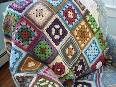 crochet afghan reminds me of my beloved Gma who taught me to crochet, she made these!