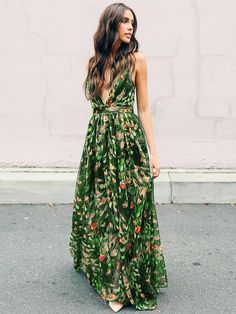 VERYVOGA Print/Floral Sleeveless A-line Maxi Casual/Boho/Vacation Dresses Source by indiansummerwin maxi dress Fashion Mode, Look Fashion, Fashion Outfits, Dress Fashion, Fashion Clothes, Womens Fashion, Street Fashion, Ladies Fashion, Fashion Styles