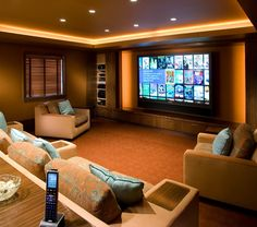 This setup definitely has potential. More weighted toward the theater/media side… This setup definitely has potential. More weighted toward the theater/media side, but still a practical living space. Home Cinema Room, Home Theater Rooms, Home Theater Design, Salas Home Theater, At Home Movie Theater, Installation Home Cinema, Living Room Theaters, Media Room Design, Luxury Rooms
