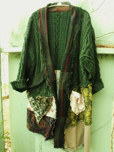 Funky/BoHo/Patched/Sweater Coat/Upcycled Cable Knit /Cotton/Jersey/Crochet/Vintage Doiley/Faux Fur
