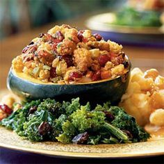 Roasted Squash Stuffed With Corn Bread Dressing    This hearty dish will satisfy your need for comfort food while still sneaking in plenty of seasonal veggies.    Ingredients: Maple corn bread, acorn squash, cranberries, currants, onion, celery, carrots, sage, garlic, vegetable broth, pecans, parsley
