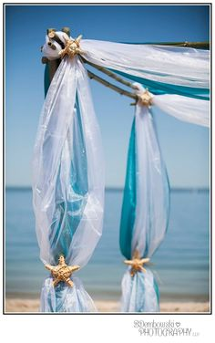 Beach Wedding Bamboo Canopy With White Fabric Florida