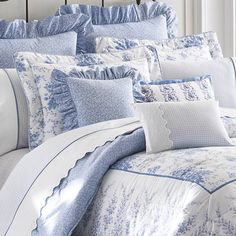 laura ashley charlotte blue and floral cotton 4 piece king size comforter set products. Black Bedroom Furniture Sets. Home Design Ideas