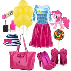 """Pinkie Pie!""  Pinkie Pie inspired everyday wear! I don't care if its my little pony, I flipping love it!!!"