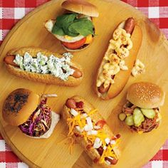 Hot dog  hamburger topping ideas:  my favorite:  A slice of American cheese, shredded barbecue pork and pickle slices