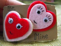 Be Mine  Set of Two Felt Heart Pins by Craftzillaconquers, $8.50 #Valentines Day #felt #pins #handmade