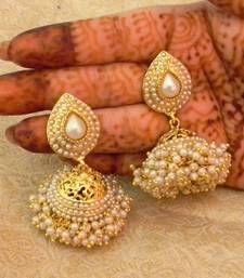 Buy Preety White Gold Plated Bandani Jhumka Earrings jhumka online