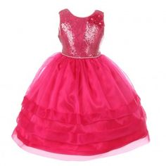 RainKids Big Girls Fuchsia Sequin Lace Organza Junior Bridesmaid Dress 8-12