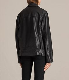 Damen Oversized Bikerjacke aus Leder (Black) - product_image_alt_text_7