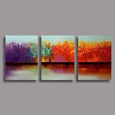 Pintura óleo pintado mão abstrata moderna com Set quadro esticada de 3   – BRL R$ 312,45