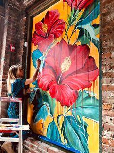 Big Wall Art, Mural Wall Art, Graffiti Wall, Wall Painting Decor, Painting Wallpaper, Flower Mural, Garden Wall Art, Hawaiian Art, Elements Of Art