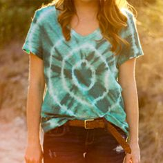 Tie-Dye shirt! Tutorial. Did this myself using RIT dye and Hanes tanks and V-neck tees. Super easy and they look amazing.