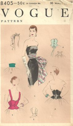 Vogue 8405 Vintage 50s Sewing Pattern by studioGpatterns on Etsy, $38.50